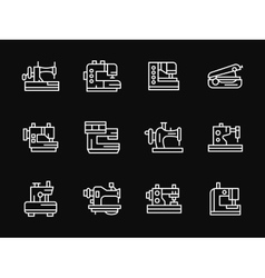 White simple line sewing machine icons vector