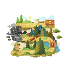 Adventure on a forest trail flat design vector image