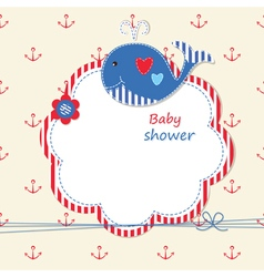 Baby shower with cute whale 2 vector image vector image