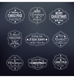 Christmas vintage typography badges set on noble vector