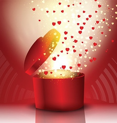 Exploding heart shaped gift box vector image