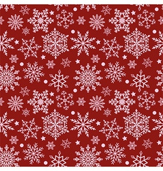 Snowflakes on red background seamless texture vector