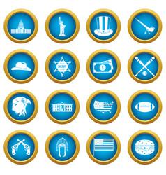 Usa icons blue circle set vector