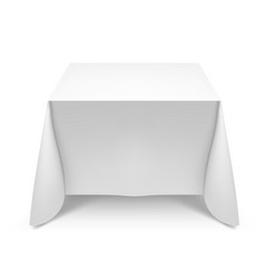white square table with tablecloth on white vector image vector image