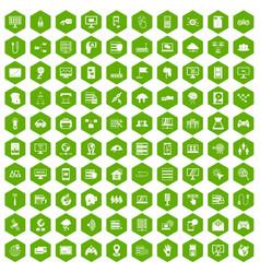100 network icons hexagon green vector image