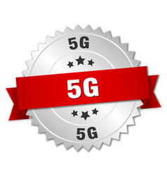 5g round isolated silver badge vector