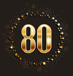 80 years anniversary gold banner vector