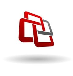 Abstract symbol of interlocking squares vector