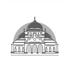 Aceh capital mosque grayscale vector