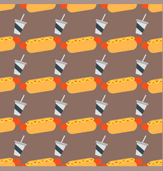 Appetizing hot dog seamless pattern background vector
