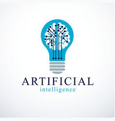 Artificial intelligence concept logo design human vector