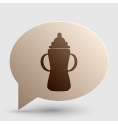 Baby bottle sign Brown gradient icon on bubble vector image
