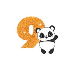 Birthday anniversary number with cute panda vector