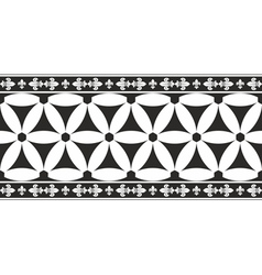 Black-and-white gothic geometrical floral border vector