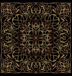 black handkerchief with golden ornament vector image