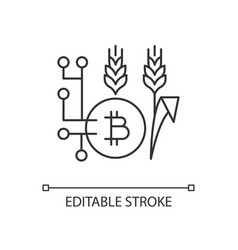 Blockchain technology in agriculture linear icon vector