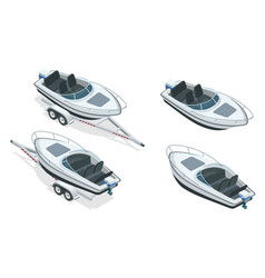 Boat or cutter on a trailer the launching vector