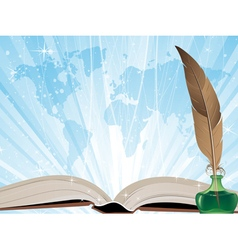 Book on a blue shining background vector