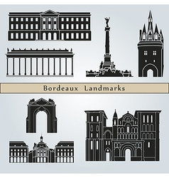 Bordeaux landmarks and monuments vector