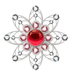 Brooch with ruby icon cartoon style vector