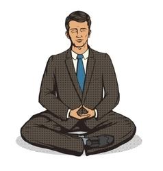 Businessman meditation cartoon pop art style vector image