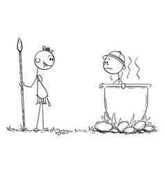 Cartoon native cannibal man salivating while vector