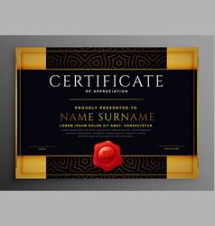 Certificate appreciation golden and black vector