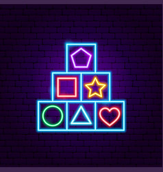 children cube toy neon sign vector image