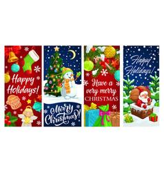 christmas banners santa snowman and xmas gifts vector image