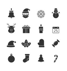 christmas black icons set vector image