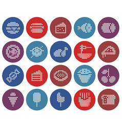 collection round dotted icons food vector image
