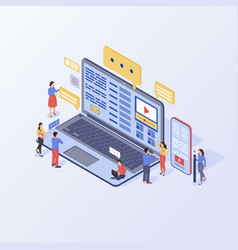 Content marketing isometric inbound marketing vector