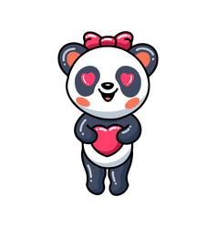 Cute little panda girl cartoon with heart vector