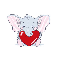 cute sitting baby elephant with big ears holding vector image