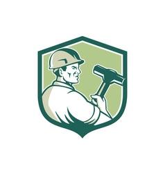 Demolition worker sledgehammer shield retro vector