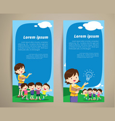 education teacher children banner vector image