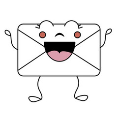 Envelope mail kawaii character vector