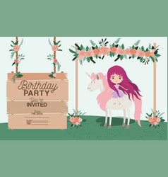 Fairy with unicorn and label wooden invitation vector