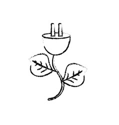 Figure power cable with leaves to environment care vector