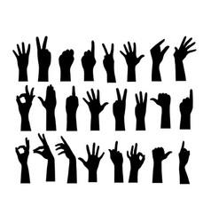 finger hand silhouette vector image