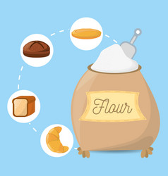 flour ingient bakery bread vector image
