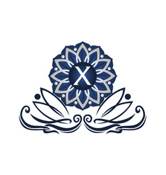 flower elegant icon initial x vector image