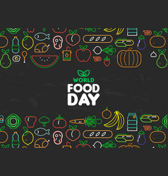 food day card of outline fruit and vegetable icons vector image