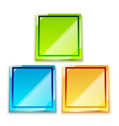 glossy bright color button set vector image