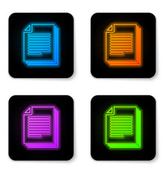 glowing neon document icon isolated on white vector image