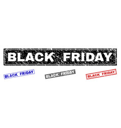 grunge black friday scratched rectangle stamp vector image