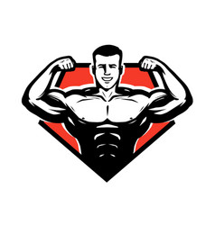 Gym bodybuilding weightlifting logo or label vector