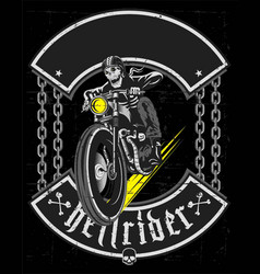 Hand drawing skull riding vintage motorcycle vector