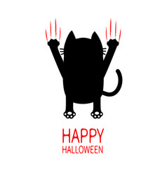 happy halloween cartoon black cat back view red vector image
