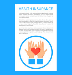 Health insurance poster with round logo with hands vector